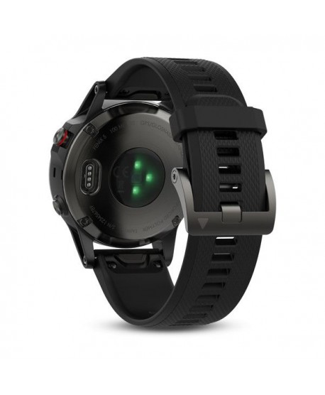 GARMIN - Silver fenix 5 with Black Band, orologio multisport -