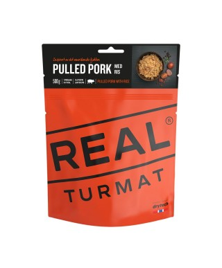Real Turmat - Pulled pork with rice, nutritious and tasty meal for outdoor use